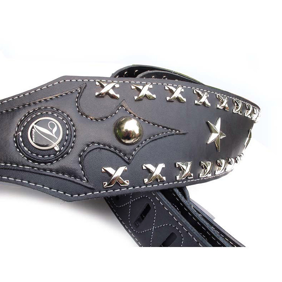 Vorson Leather Guitar Strap  Electric Bass Strap  Death Metal Rock Punk  Guitar Strap Genuine Leather