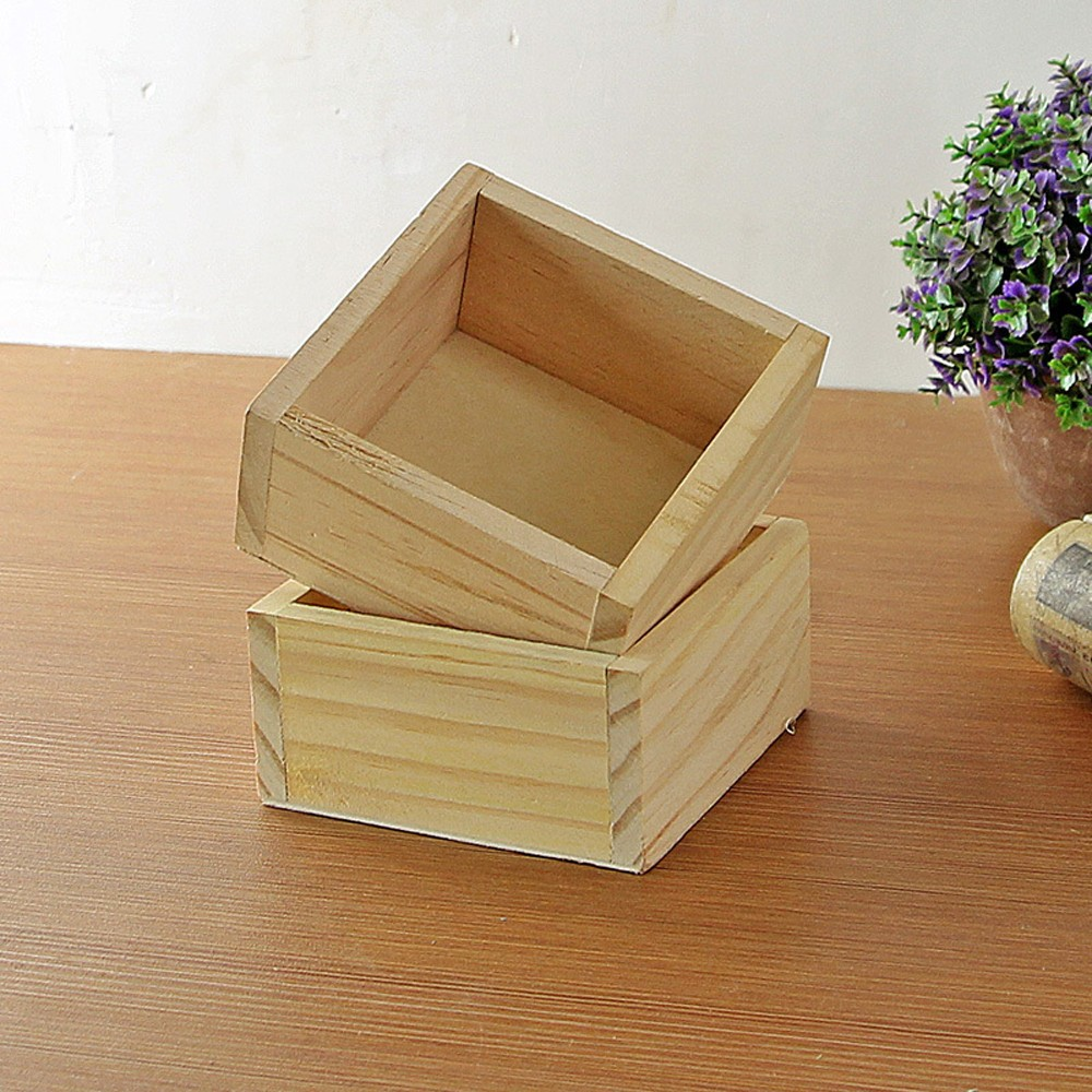 Wooden Practice Retro Style Wooden Succulent Plants Handmade Square Flower Pot Desk Organization for Plant Small Gadget