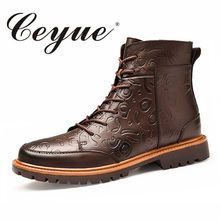 Ceyue 2017 New Genuine Leather Boots Men Brand Heated Insole Snow Hot Plus Size 38-47 Walking Party Winter Shoes