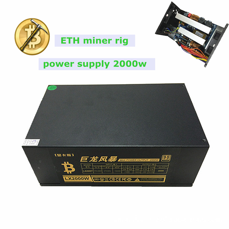 Asic dash miner Computer Server power supply 2000w ETH BTC ATX 12V 155A mining case rx47 ...