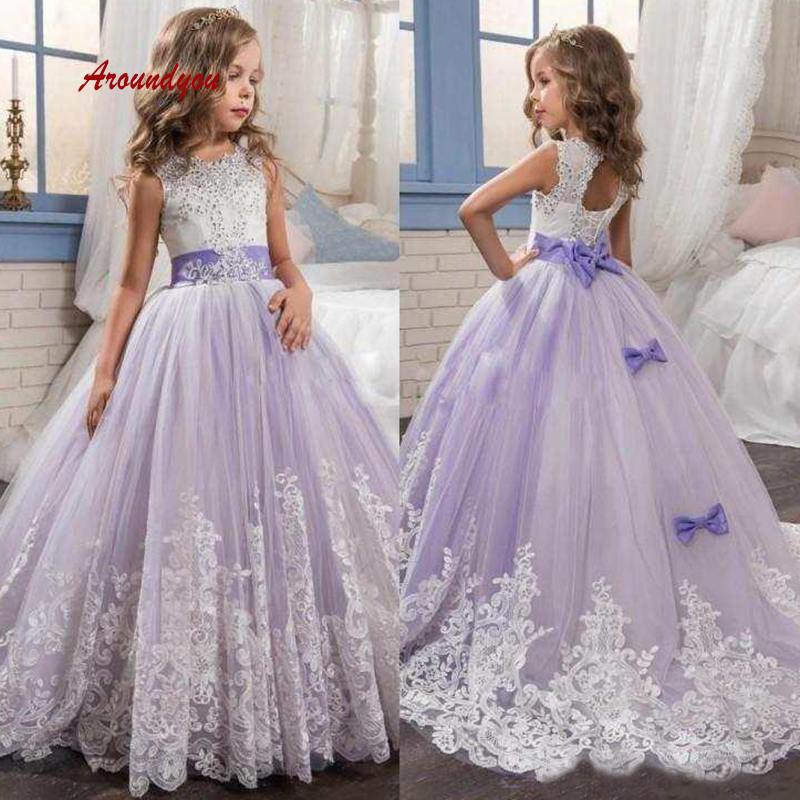 Lilac Lace   Flower     Girl     Dress   for Party and Weddings Tulle Pageant First Holy Communion   Girls     Dress   for   Girls   Gown 2019