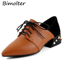Bimolter Spring Autumn Genuine Leather Pumps Women Elegant Med Heels Point Toe British Style Casual Lace-Up Oxford Shoes LCEA021 недорого