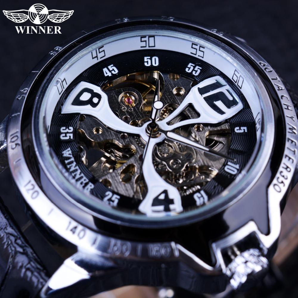 Prix pour Vainqueur Sport Argent Lunette Escalade Conception Transparent Squelette Hommes Montres Top Marque De Luxe Mécanique Automatique Montre Horloge Hommes