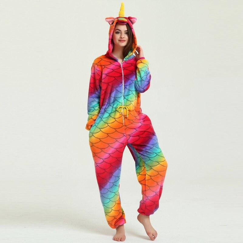 Kigurumi Mignon Coloré de Bande Dessinée Licorne Pyjamas Hiver Chaud Flanelle À Manches Longues À Capuche Adulte Femmes Unicornio pyjama licorne