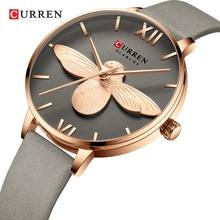 CURREN Female 2019 New Watch Golden Little Bee French Ins Net Red Style Women Quartz Grey Leather Wrist Watches Waterproof Clock