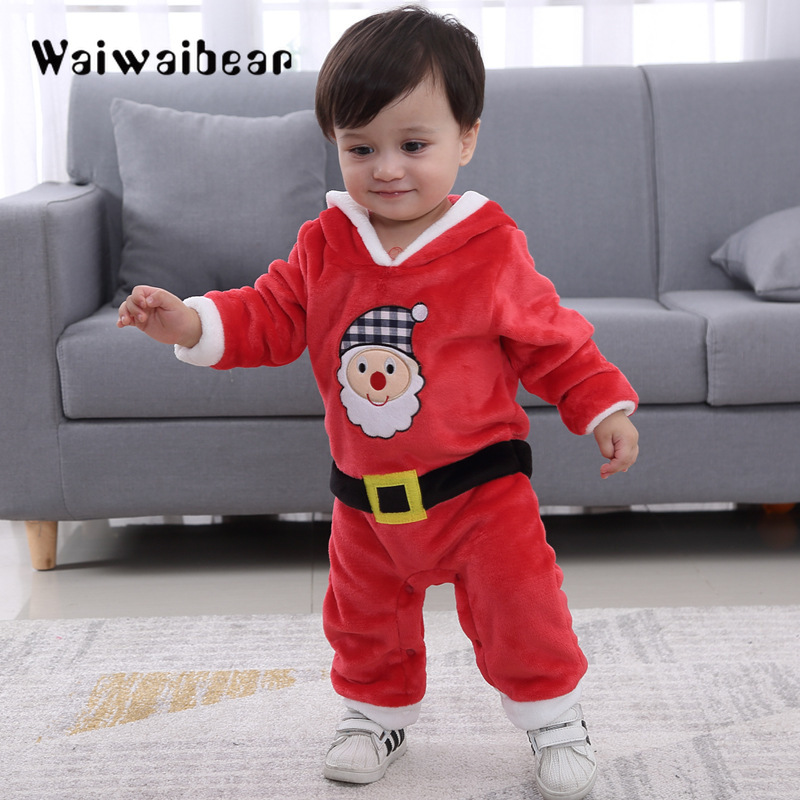 Newborn Baby Boys Girls Fleece Romper Christmas Santa Claus Printed Hooded Jumpsuit Long-Sleeved Cotton Romper Warm Clothes santa claus with gifts flowers printed pillow case