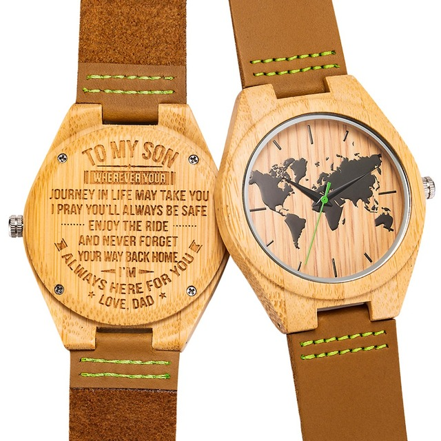 Engraved Wooden Men Wood Family for Son DAD MOM Engraving Wood Watches Gift Watch For Christams Valentine's Day Drop Shipping 3