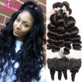 7A Bele Virgin Peruvian Loose Wave 3 Bundles With Frontal Mink Peruvian Virgin Hair Loose Wave Lace Frontal Closure With Bundles