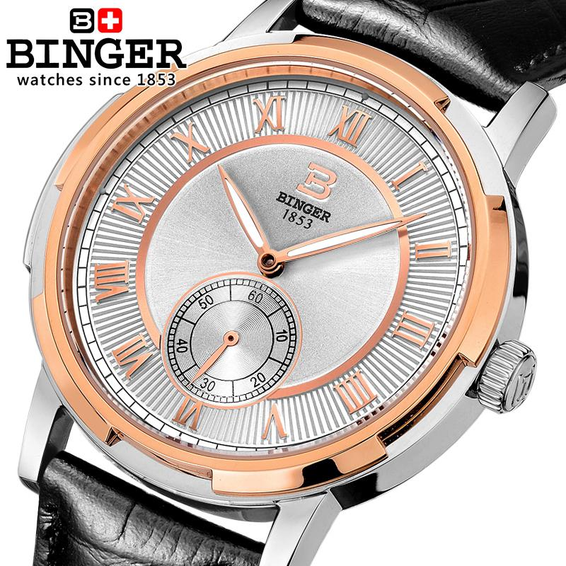 Switzerland watches men luxury brand BINGER glow Mechanical men's watches leather strap Water Resistant clock B 5037 7