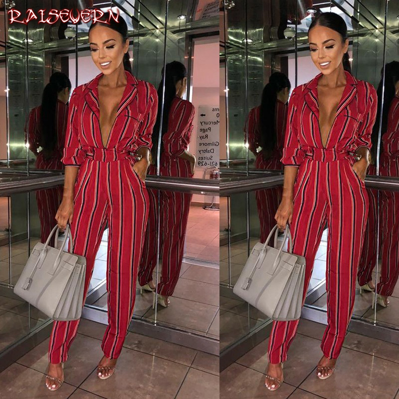 8ef5586178de RAISEVERN Striped Printed Jumpsuits For Women 2018 Half Sleeve Turn Down  Collar Long Rompers Womens Jumpsuit