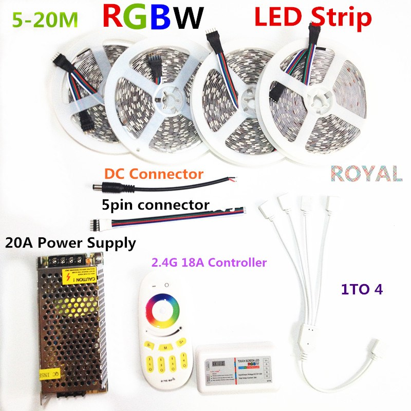 LED Strip set DC12V RGB RGBW 5050 ip65 Waterproof Flexible Led Light + RF Remote Controller + Power adapter Kit 20M 15M 10M 5M dc 12v rgb rgbw led strip 5050 ip65 waterproof flexible led light 2 4g rf remote controller power adapter kit 20m 15m 10m 5m