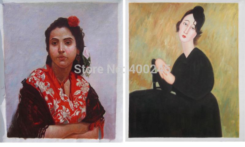 Абстрактное портретное искусство картина маслом Жанна Hebuter в красной шали картина маслом фото на холсте высокого качества, ручная работа