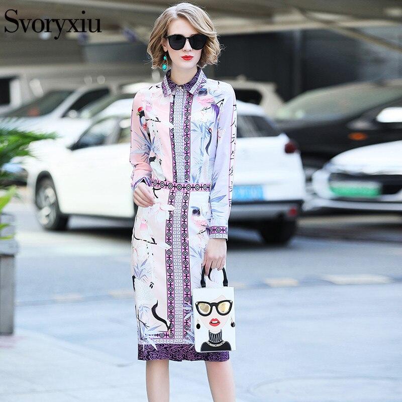 Svoryxiu 2019 elegante falda de diseñador traje de mujer de manga larga estampado blusa delgada + paquete nalgas media falda de dos piezas conjunto-in Conjuntos de mujer from Ropa de mujer    2