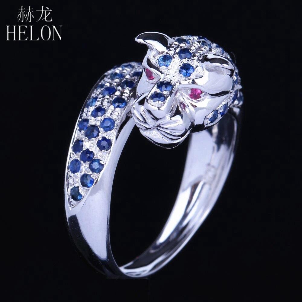 HELON solide 14 k or blanc hommes bijoux saphir naturel et rubis fiançailles nouveau Design anneau Animal élégant bijoux léopard bande