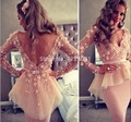 Long Sleeves Short Mermaid Prom Party Dresses Sexy V Neck Appliques Backless Knee Length Celebrity Party Dress
