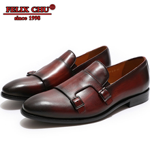 4 Colors Men Loafer Dress Shoes Leather Buckle Strap Flats Office Business Wedding Handmade Formal Pointed Toe Shoe Male