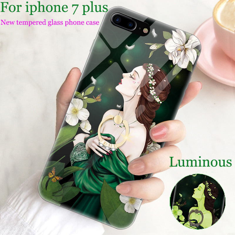 For iphone 7 plus case cover For iphone7 plus case Luminous tempered glass back cover For iphone 7plus cases iphone7plus shell