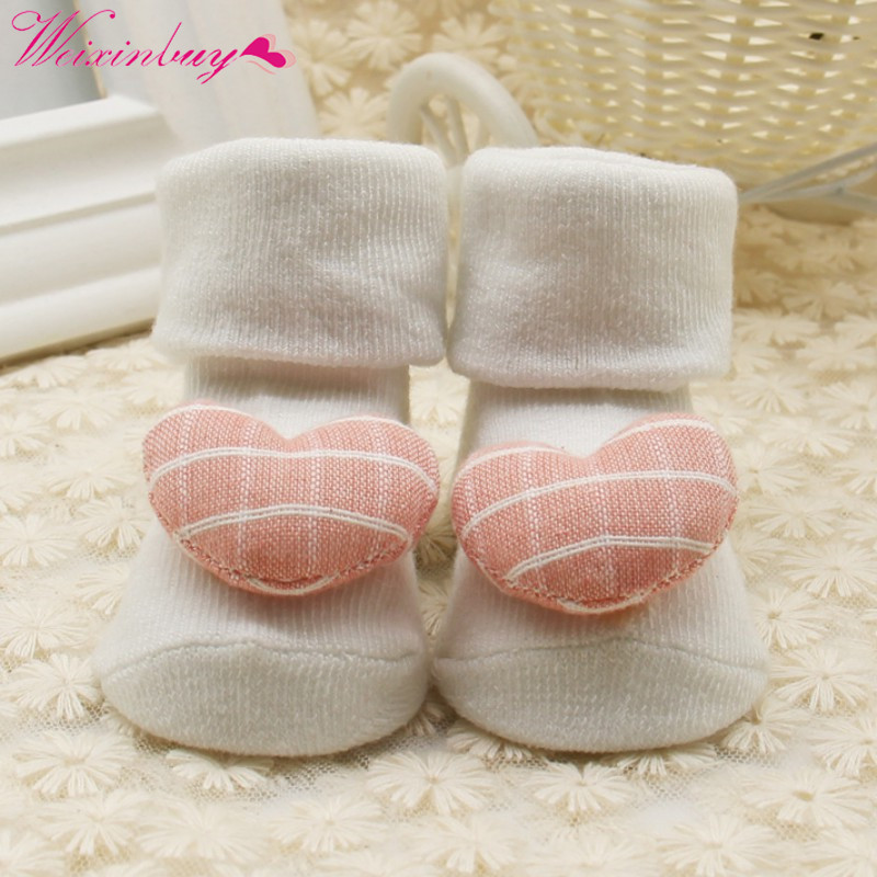 1 Pair Newborn Infant Baby Girls Boys Soft Socks Star Love Heart Turn Down Kids Princess Socks 0-1Y