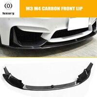 M3 M4 углеродного волокна переднего бампера для губ подбородок спойлер со съемными боковыми сплиттер для BMW F80 M3 F82 F83 M4 купе и кабриолет