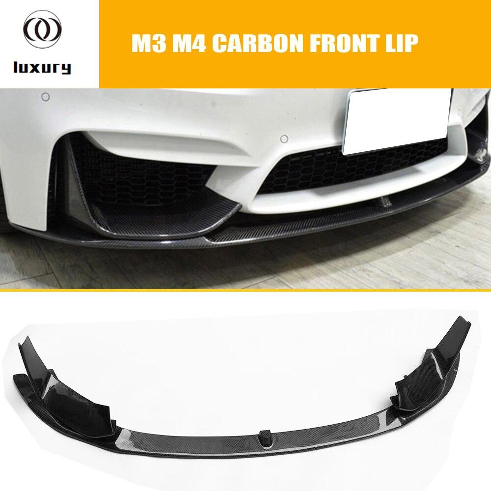 M3 M4 Fibra De Carbono do Amortecedor Dianteiro Lip Chin Spoiler Com Lateral Removível Splitter para BMW F80 M3 F82 F83 M4 coupe & Conversível