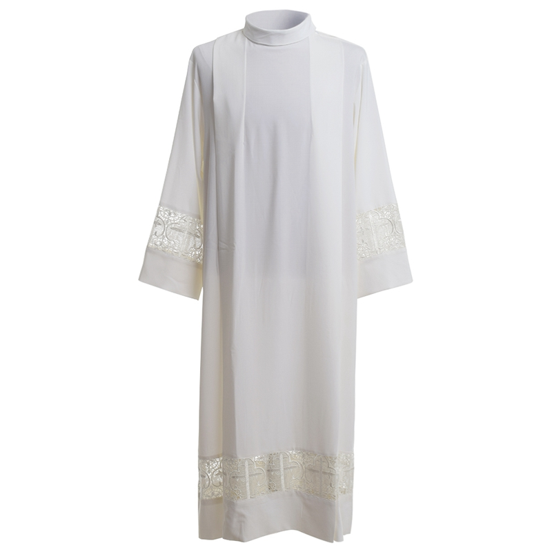 Holy Church Priest Alb Vestment Clergy Mass Lace Joint Alb Christian Cross Surplice