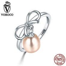 Voroco 2017 Аутентичные стерлингового серебра 925 элегантный лук естественный пресноводный жемчуг Кольца для Для женщин кольцо Красивые ювелирные изделия VSR079
