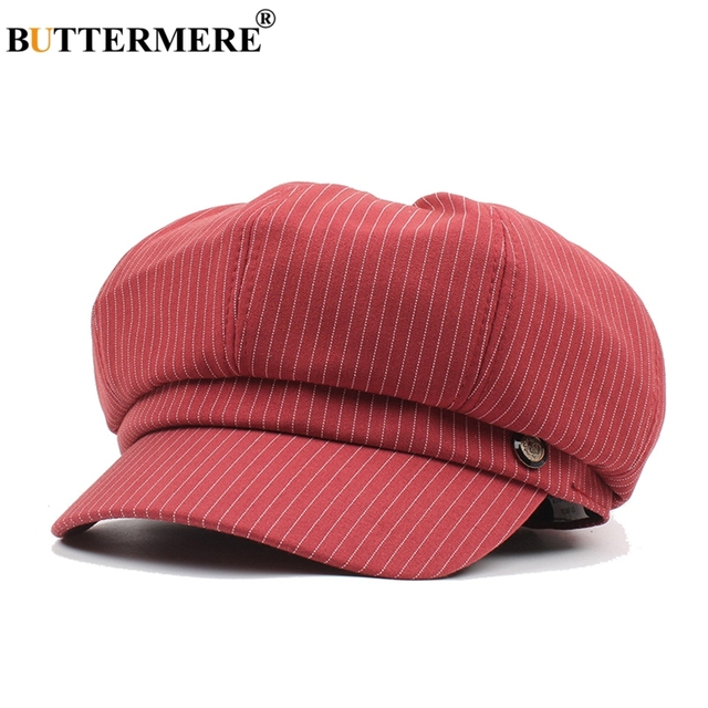 BUTTERMERE Women Flat Cap Striped Burgundy Vintage Cotton Female Newsboy Cap  Stripes British Casual Octagonal Hats And Caps 24fc3c6a39a