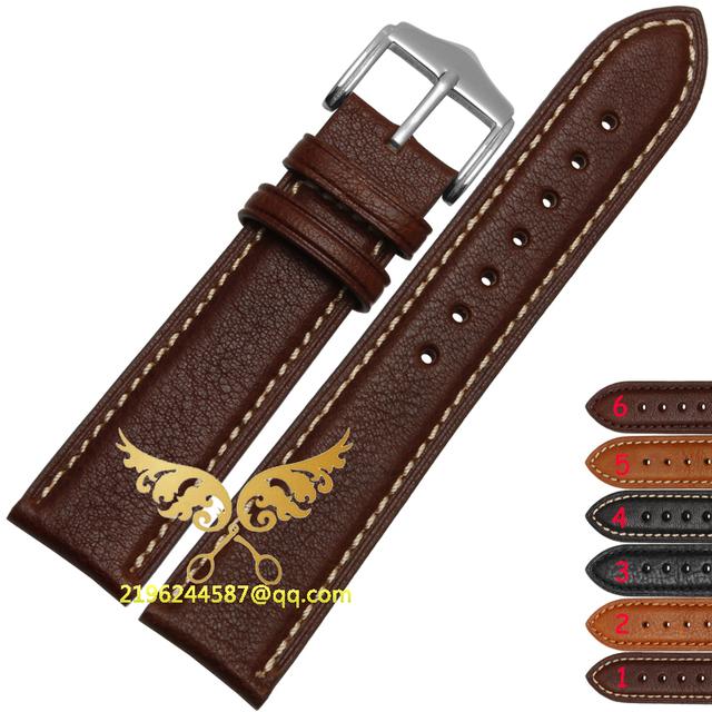 Tiras de alta qualidade 18 mm 20 mm 22 mm 24 mm genuíno couro Strap fivela de aço relógio de pulso banda Black Brown tafilete frete grátis