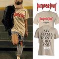 Justin Bieber Propósito Gira Camisa Para Hombre Casual Suelta de Manga Corta Camiseta Tops Tamaño S-XXL