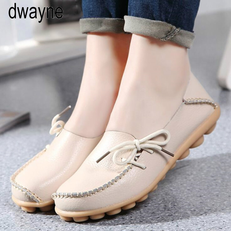 Women Real   Leather   Shoes Moccasins Mother Loafers Soft Leisure Flats Female Driving Casual Footwear Size
