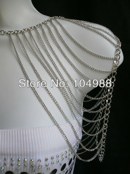 FREE SHIPPING New arrival!NEW WOMEN GOLD/SILVER COLOUR MULTI LAYERS METAL SHOULDER BODY  ...