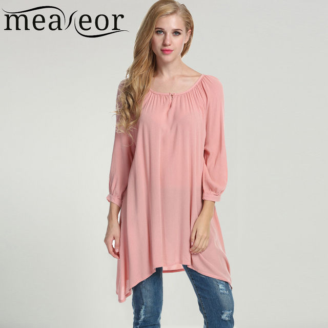 8a7eecfb2ffe3 Meaneor Women s Casual Long T-Shirt Oversized 3 4 Sleeve Solid White Pink  Loose Fit Asymmetrical Pullover Shirt Tops
