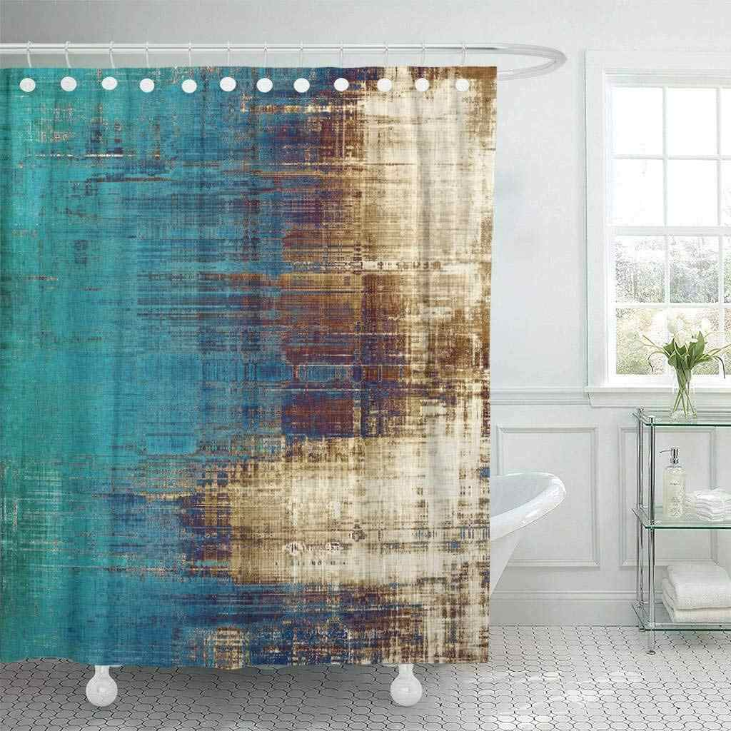Shower Curtain Old Vintage Patterns Yellow Beige Brown Green Blue White Wall Aged Bathroom