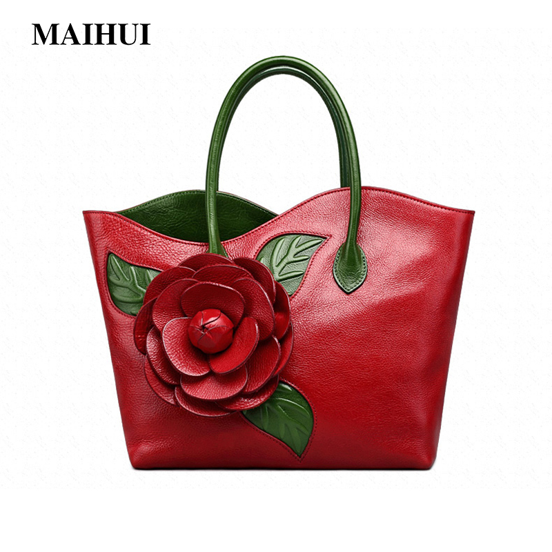 MAIHUI women leather handbags high quality real cow genuine leather Top-handle bags 2017 new national ladies embossing tote bag kzni real leather tote bag high quality women leather handbags top handle bags purses and handbags bolsa feminina pochette 9057