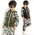 New 2016 Children's Clothing Sets Kids Boy Korean Clothes Set Child Camouflage Sports Suits Big Boy Tops + Pants 2 Suit Piece