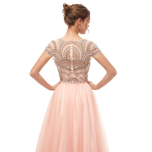 Image 5 - New Formal 3 Layers Evening Dresses Long 2020 Elegant Women Tulle Cap Sleeve Beading Banquet Prom Party Gown Robe De Soiree 5222