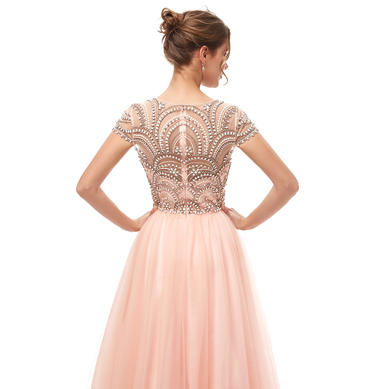 New Formal 3 Layers Evening Dresses Long 2021 Elegant Women Tulle Cap Sleeve Beading Banquet Prom Party Gown Robe De Soiree 5222
