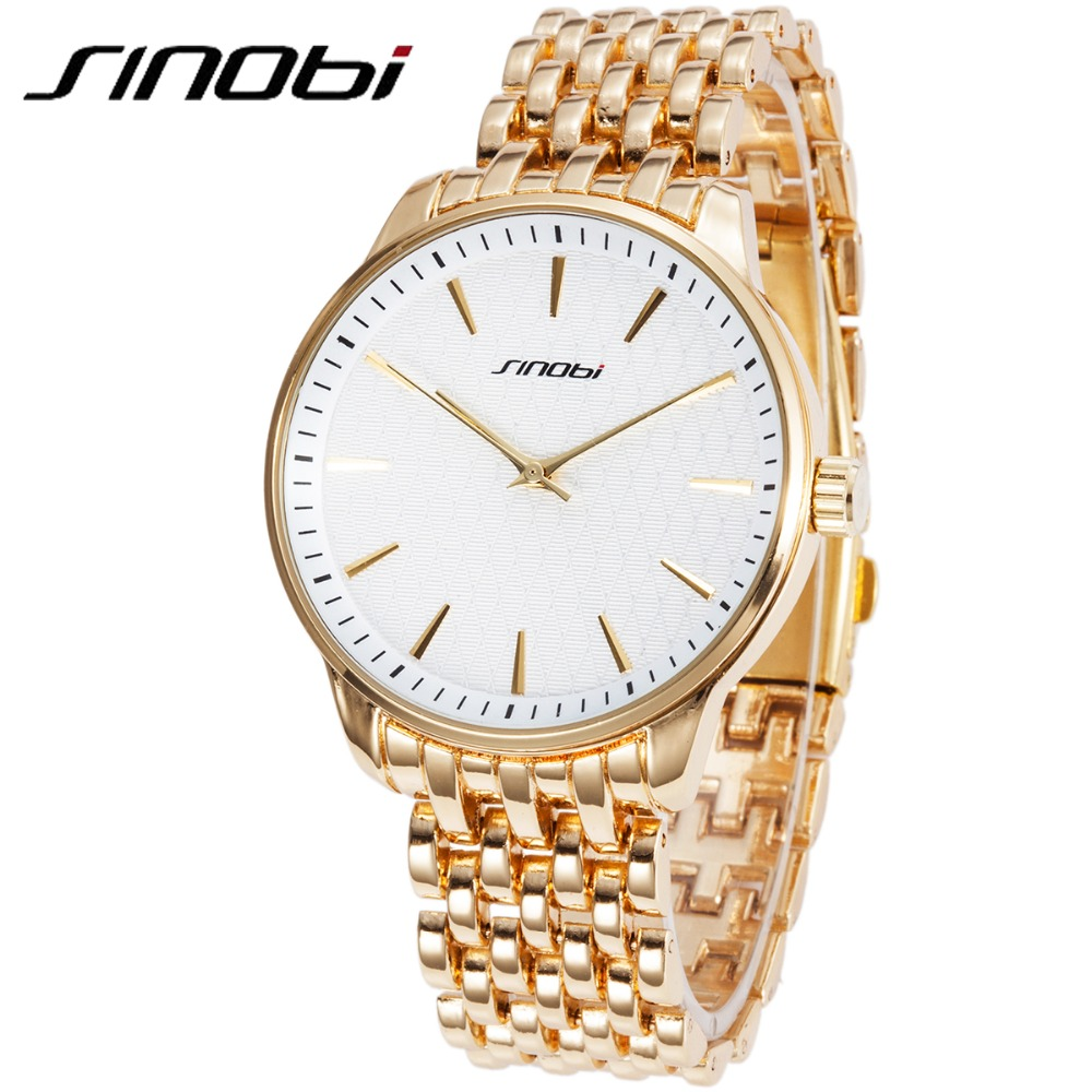 SINOBI Men s Golden Wrist Watches Stainless Steel Watchband Top Luxury Brand Male Geneva Quartz Clock
