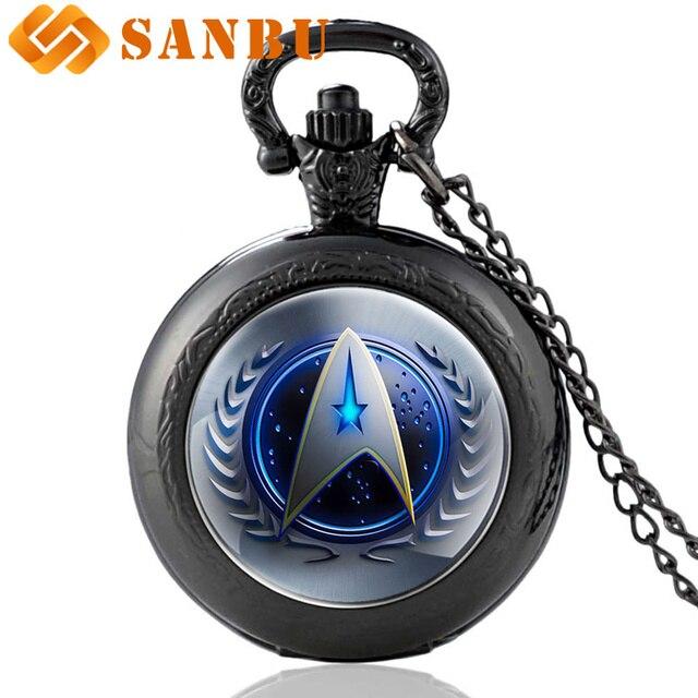 Black Fashion Star Trek Glass Cabochon Quartz Pocket Watch Black Necklace Vintag