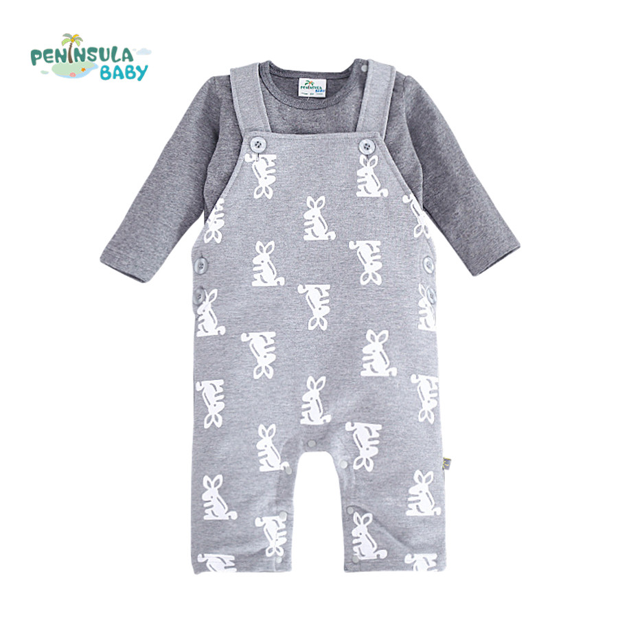 2Pcs/lot Baby Clothing Sets Overalls Romper+Long Sleeve T shirts Newborn Boys Girls Clothes Rabbit Infant Jumpsuits cotton baby rompers set newborn clothes baby clothing boys girls cartoon jumpsuits long sleeve overalls coveralls autumn winter