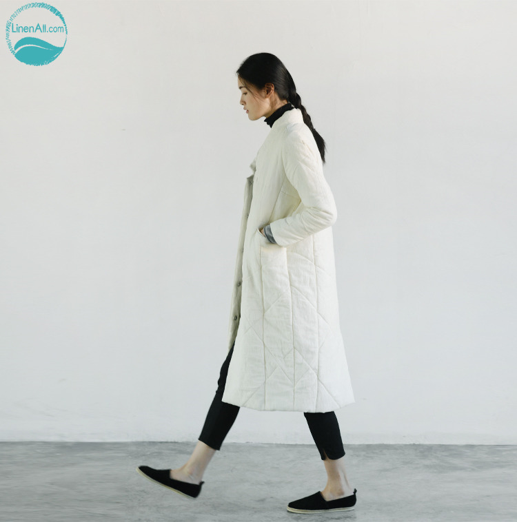LinenAll.com women's parkas long cotton-padded jacket original design linen white and beige  thickening wadded jacket female YM linenall women s parkas cotton and linen medium long wadded jacket outerwear female plus size vintage cotton padded jacket ym