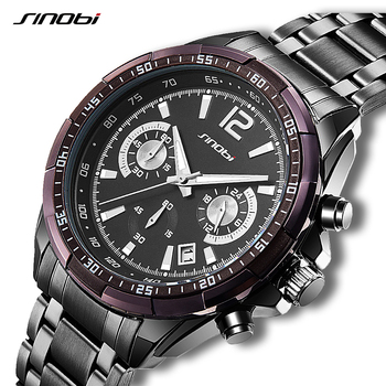 4d82186e8f7f 2019 ocio deporte hombres relojes SINOBI marcas correa de cuero de lujo de cuarzo  reloj hombre reloj impermeable de los hombres Relojes