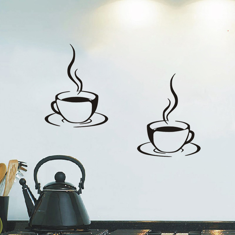 Aliexpresscom Buy 2 Coffee Cups Kitchen Wall Stickers Cafe