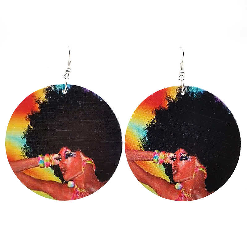 YD&YDBZ Fashion Wood Earrings For Women Sexy Ladies Printing Big Drop Earrings Harajuku Gothic Ethnic Style Jewelry Party Gifts