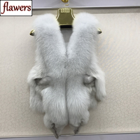 2019 Hot Sale Women 100% Genuine Real Fox Fur Vest Natural Soft Fox Fur Sleeveless Jacket Lady Quality Warm Real Fox Fur Gilet