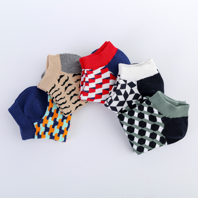 Jhouson Colorful Classic Beard Geometry Pattern Funny Ankle Sock Fashion Men's Cotton Novelty Summer Casual Socks For Male 4