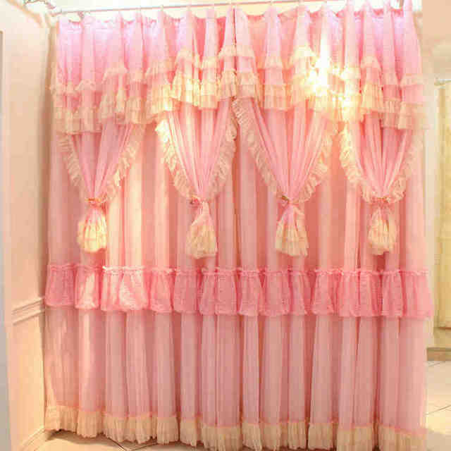 2panel Luxury Korean Lace Ruffled Children S Curtain Princess Custom Made Bedroom Curtains Pink