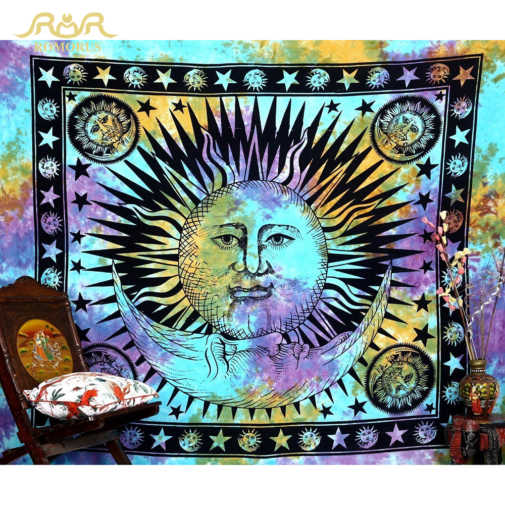 ROMORUS Sun Moon Face Tapestry Creative Bohemian hippie Tapestry - Home Textile - Photo 2