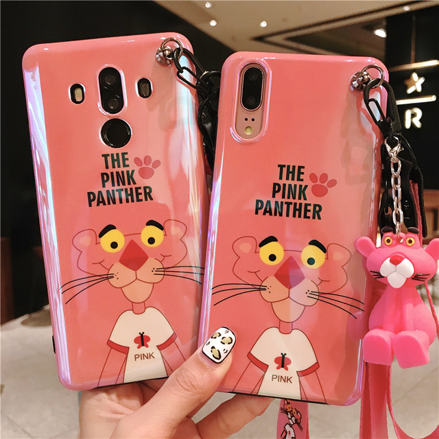 the latest 92d18 05288 US $5.69 5% OFF|For huawei P20 cartoon Case, Blue Ray pink panther Soft  phone Cover for Huawei P20 pro lite mate10 nove2S nova3E +toy +Strap-in  Fitted ...