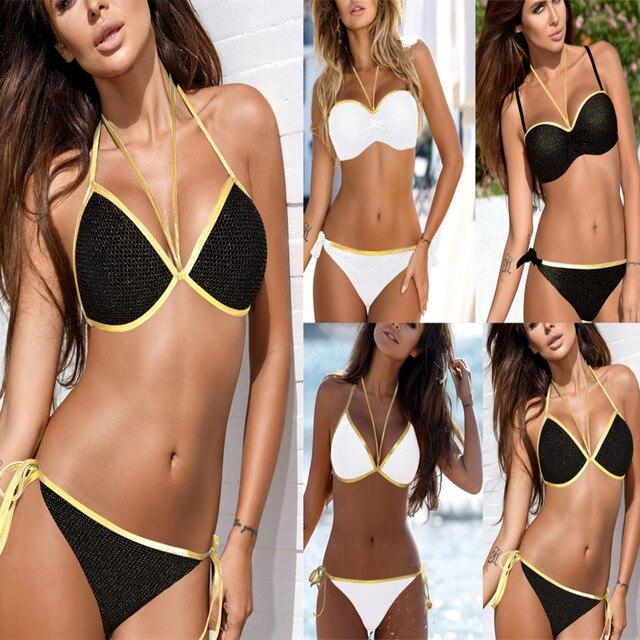 c8cc742849c Vintage Brazilian Bikinis Sexy Golden Rim Bandage Swimsuit Push Up Strappy Bathing  Suit Swimwear For Women